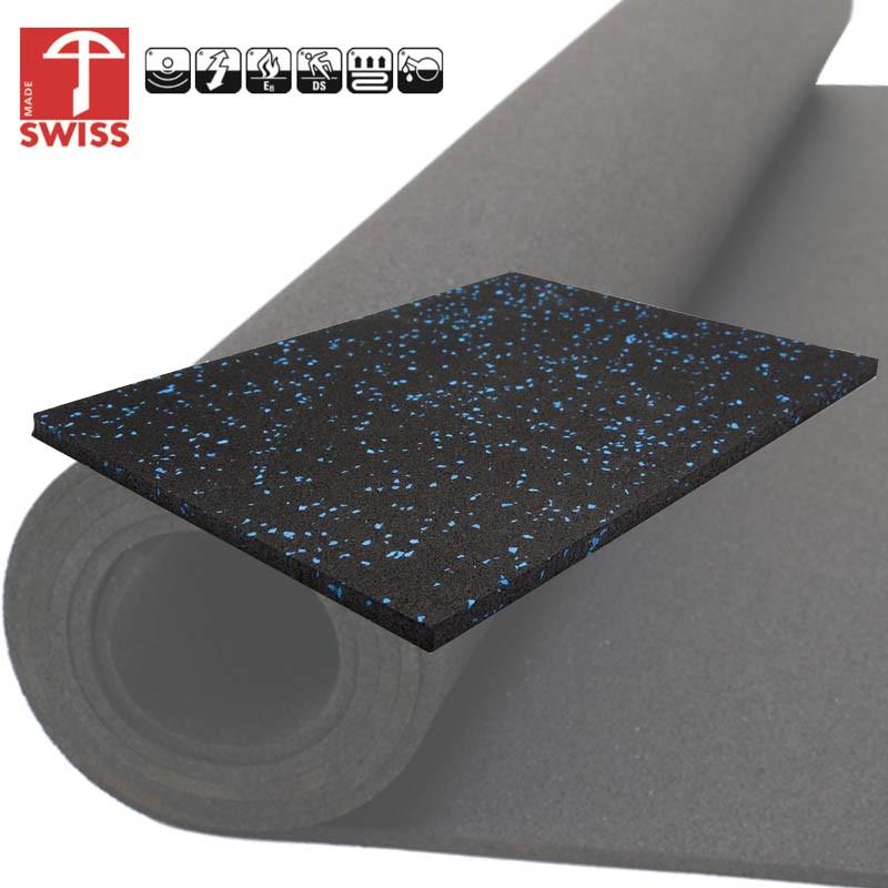 Rubber sportvloer granulaat zwart blauw