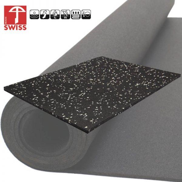 Granulaat Rubber Rol.Rubber Sportvloer Granulaat Zwart Grijs 6mm Dik 125 Cm Breed Rol 10 Meter