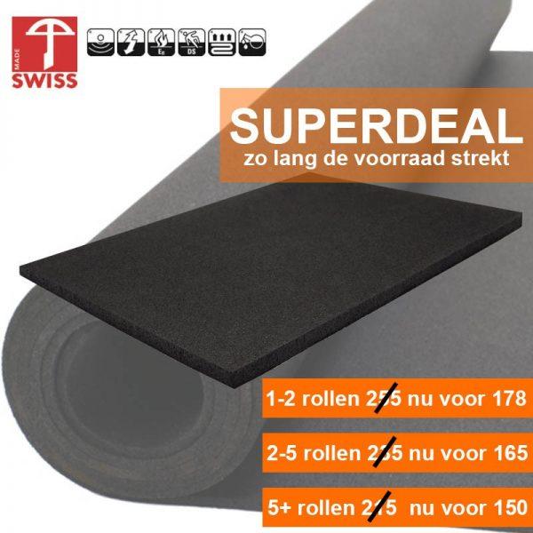 Granulaat Rubber Rol.Rubber Sportvloer Granulaat Zwart 6mm Dik 125 Cm Breed Rol 10 Meter