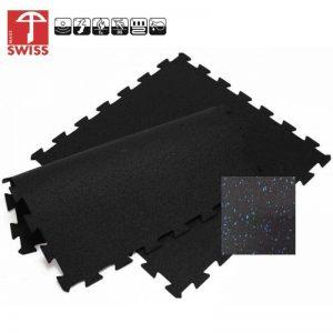 Rubber Sportvloer Puzzel Tegel zwart blauw
