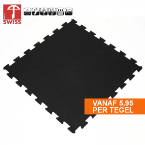 Rubberen Sportvloer Puzzel Tegel Pure Black, fitness, home gym etc