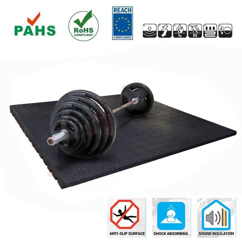Sportvloer Rubber Tegel 4.3cm Sportvloer voor Fitnessruimte of Crossfit, sportschool en home gym