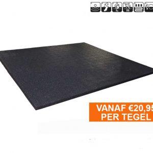 sportvloer rubber tegel 15mm zwart