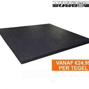 sportvloer rubber tegel 20mm zwart
