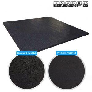 sportvloer rubber tegel zwart 100x100cm allebei