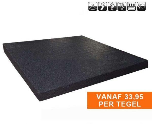 Sportvloer Rubber Tegel 100x100cm 3cm dik