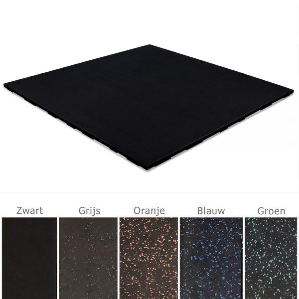 fitness rubber tegels zwart met gekleurde spikkeltjes