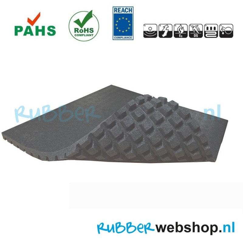 antraciet rubber tegel 100x100cm en 4.3cm dik