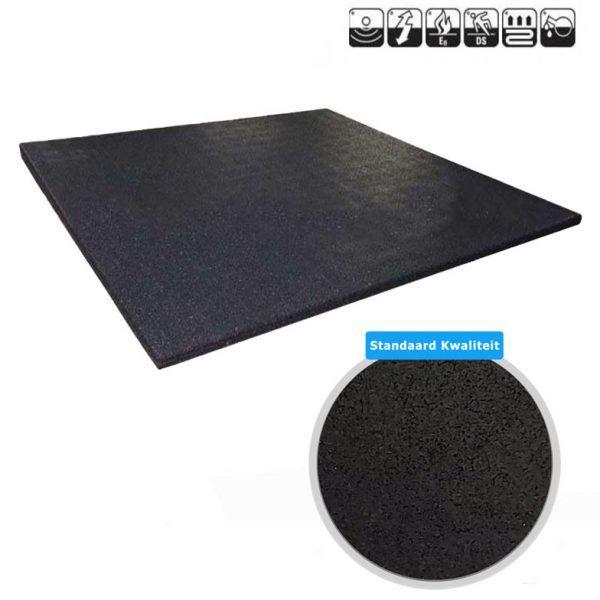 sportvloer rubber tegel zwart 100x100cm standaard kwaliteit